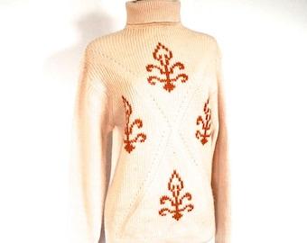 Vintage 1970's Sweater // 70s Cream Knit Wool Turtleneck Sweater // Ski Sweater