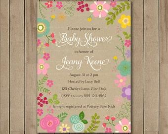 Floral Baby Shower Invitation   Pretty Flower Invitation   Bridal or Baby Shower Invitation   Digital Printable Invite