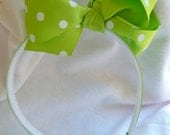Boutique Hair Bow on Headband, Lime Green or Lime Green with White Polka Dots, Girly Hair Bow....On Sale 50% OFF