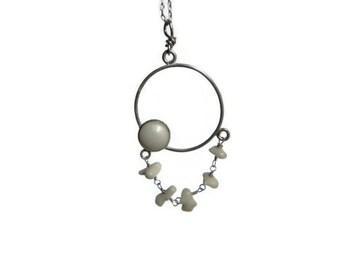White Coral Chandelier pendant necklace, beach wedding white coral pendant