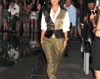 Vintage 80s TRES PAQUETTE Dress Blouse Shirt Top with built in Velvet Brocade Vest Street Style