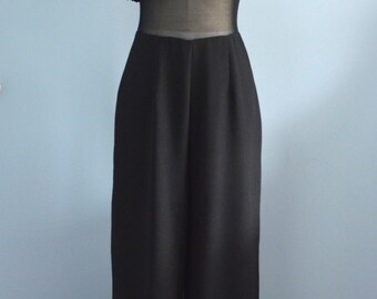 Vintage 70s Black Crepe Lace and Sheer JUMPSUIT by PM Collections Free Shipping US
