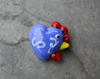 One royal blue and white squiggles lampwork glass hen - chicken bead - jewelry and craft supplies