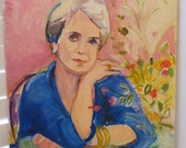 Vintage Oil Portrait Modern Older WOMAN Gray Hair Flowers Impressionist c. 1960s Painting