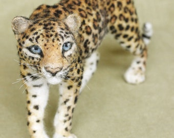 Needle felted Leopard, poseable felted animal, made to order see description, 6-8 month turnaround time