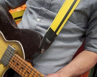 Yellow w/ Black Racer X Guitar Strap  - Vegan - Plenty of other colors to choose from