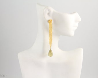 24kt Gold Plated Vintage Chainmaille Silver Mesh Earrings with Large Lemon Quartz Briolette AC1033 by ashleychilds