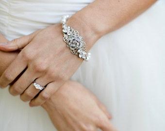Bridal pearl and rhinestone Bracelet, Statement Bridal Bracelet, Wedding Rhinestone Bracelet, swarovski crystal bracelet, cuff,  ROSELANI