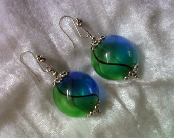 Chunky Blue and Green Hollow Glass Earrings (1207)