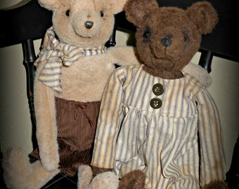 "Primitive ""Benny Bear and Gracie"" instant download PDF e-pattern"