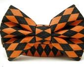 Halloween Argyle Bow Tie Dog Collar in Orange and Black