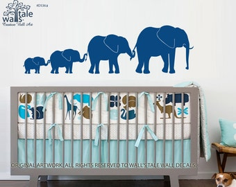 Elephant Line of four 4 Elephants Wall decal, family of elephant for baby room,Children' Nursery Bedroom Decor, bug brother, sister - d536a