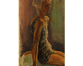 A vintage swimsuit, an original oil on canvas painting. 40-50 % discount upon request.