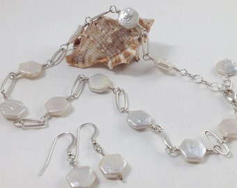 White Freshwater Pearl & Sterling Silver Chain Necklace and Matching Earrings