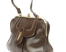 Renalda, French Vintage, 1950s Brown Leather Handbag, Mad Men Style, from Paris