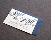 "Modern Save the Dated, Wedding Invitations, Navy Blue Save the Date, Blue and Grey Wedding, Save the Date Cards ""Sweeping Script"" - DEPOSIT"