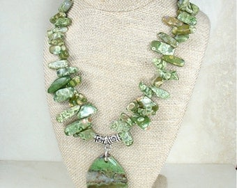 Green Jasper Chunky Stone Pendant Necklace
