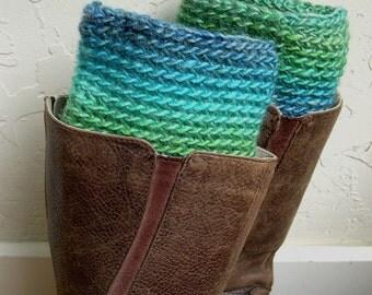 Emerald Green Leg Warmers - Boot cuffs T- Crochet Boot Toppers - Boot Cuffs - Warm winter legwarmers - Made in America - Girlfriend gift