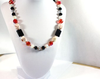 Stunning Pink and Onyx Handmade Beaded Necklace - 22 inch - Womens Jewelry - Handmade Necklace - Cyber Monday Sale