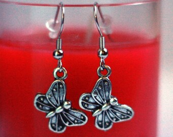 Silver Butterfly Charm Earrings - Girls Dress Up Jewelry - small earrings