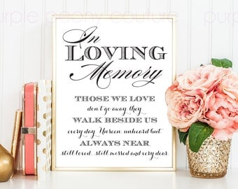 In Loving Memory Wedding Sign Memorial Table Frame 8x10 Printable PDF INSTANT DOWNLOAD