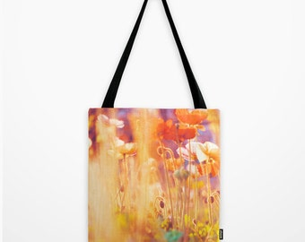 market tote bag, shopping bag, nature photography, poppy tote bag, Alice in Wonderland girls bag, rainbow garden tote, yellow orange red