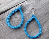 Blue Hemp Hoop Earrings - Dangle 1.5 inches - Raindrops