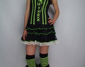 Reserved - 2nd payment Neon Corset Dress UV Green White Rara Skirt, Lolita Black Corset Dress, S/M, Lace, OOAK, Rave Party, Halloween, Witch