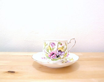 Vintage Royal Albert Teacup / Pastel Floral Cup / Teacup and Saucer Set / 50s Teacup / Country Cottage Decor