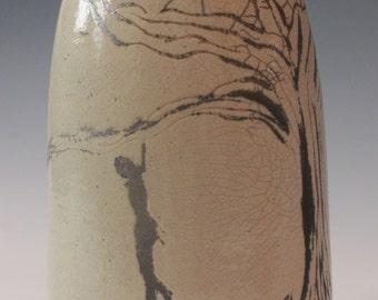 Hanged Man Raku Vase Halloween Spooky Eerie
