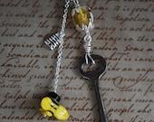 Bee Keeper Necklace  Vintage Skeleton Key