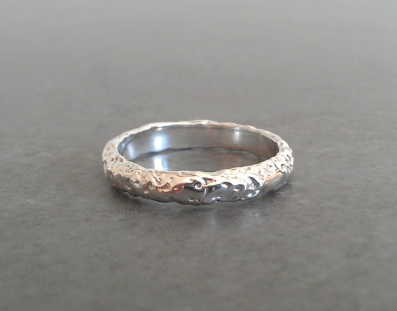 Rustic Silver Wedding Band - Sterling Silver - Moonrock Texture