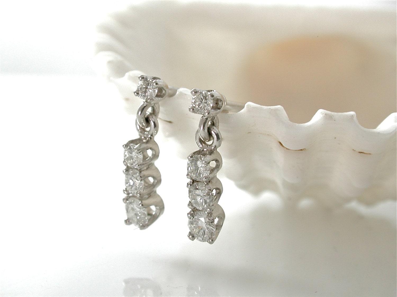 Simple Diamond Dangle Earrings Pretty Drop Earrings