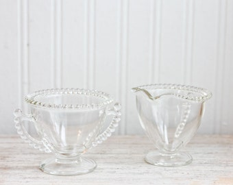 Vintage Cream and Sugar, Beaded Glass Cream Sugar Set,  Hobnail Style Clear Glass Candlewick, tea party, vintage kitchen, retro kitchen,