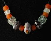 Viking reproduction beads - necklace THORGRIM - Glass beads - Replica beads - Purple - Orange - Cheerful - Treasure - Iron age