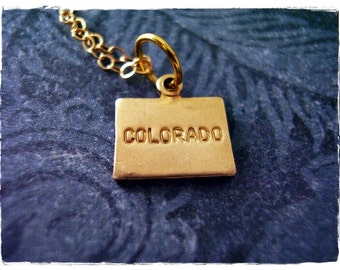Tiny Gold Colorado State Necklace - Raw Brass Colorado Charm on a Delicate 14kt Gold Filled Cable Chain or Charm Only