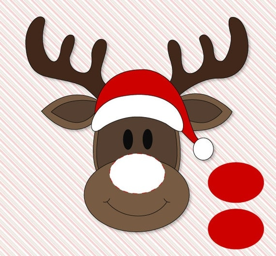 reindeer tail template - pin the nose on rudolph classroom party game printable by