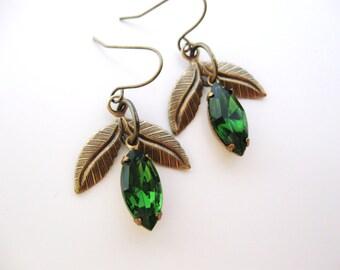 Green Leaf Jewel earrings