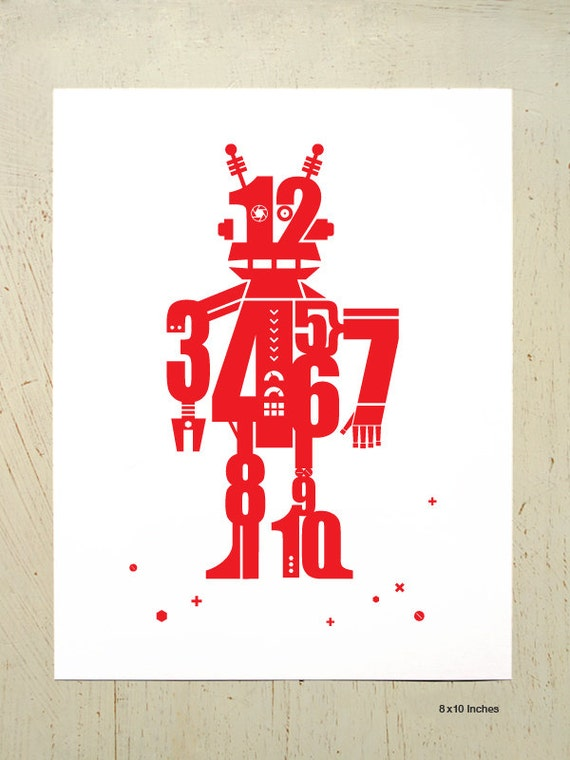 Robot print - for the nursery or childs room - Red. Wall art for kids rooms by Erupt Prints