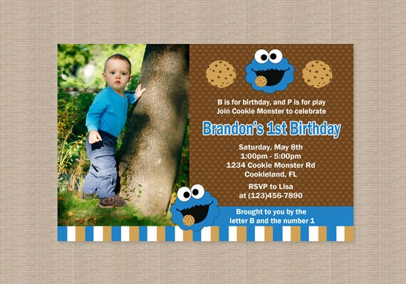 Cookie Monster Birthday Party Invitation Inspired by ...