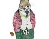 Hare illustration print 8x11 giclee print