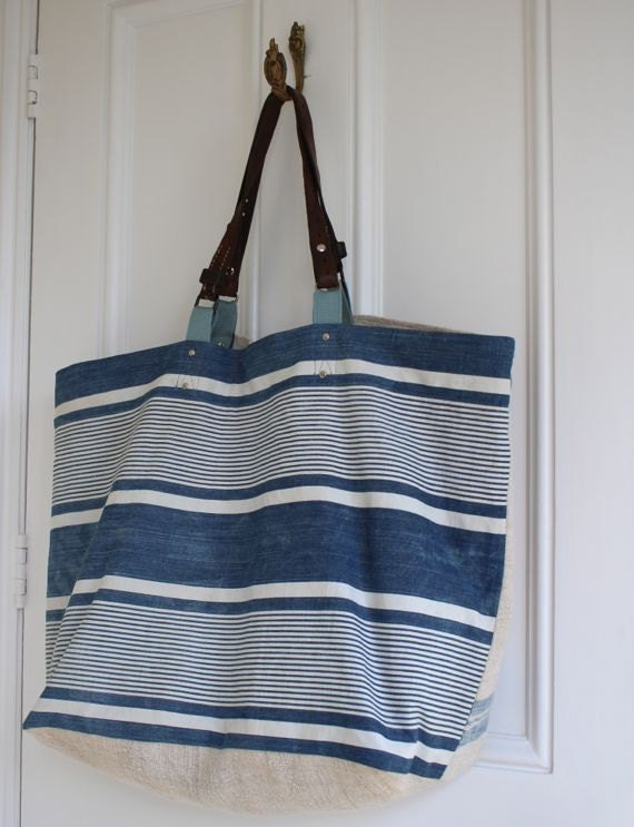 Canvas Weekend Bag Grain Sack And French Blue Stripe Tote