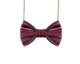 Ethnic Multicolored Stripes -  Bow Tie Necklace - Purple Pink Green Stripes Traditional Casual Bowtie, Aztec Bow tie Necklace
