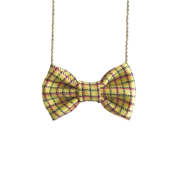 Yellow Plaids - Bow Tie Necklace, Yellow Striped Bowtie