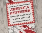 Printable Digital File - Crawfish Boil Invitation - Customizable - Newspaper, Gingham, Seafood, Crayfish, Birthday, Shower, Engagement Party