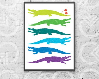 """Instant Download - Printable - 11""""x14"""" Art Print - Alligators and a Pelican - Nursery or Kids Room Decor - Louisiana - South - Colorful"""