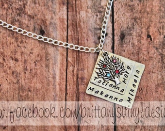 Hand Stamped Square Necklace - Hand Stamped Silver tree Necklace - Tree of Life, Family Tree, Family - Mommy Necklace