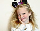 Mickey Mouse Ears Headband Fall Halloween Hair Bow, Floral Mouse Ears, giddyupandgrow
