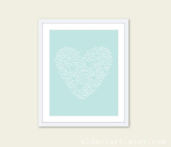 Blue Heart Art Print - Modern Heart Wall Art - Heart Poster - Blue Nursery Decor - Pastel Nursery Decor - Under 20