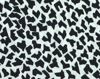 Crepe Print Fabric, Small Abstract Black Shapes on Sparkly White, Lightweight Polyester, half yard, 4-oz, B37
